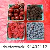 Berries and Cherries on Display - stock photo