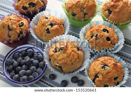 Berries and homemade blueberry muffins. - stock photo