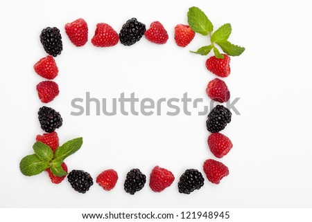 Berries and Spearmint Frame - stock photo