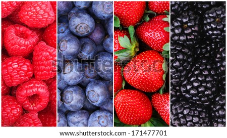 Berries Background Collection. Raspberry, Blueberry, Blackberry and Strawberry - stock photo
