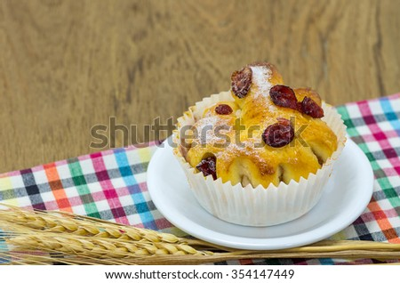 Berries Butter cake on table, Delicious Dessert.  - stock photo