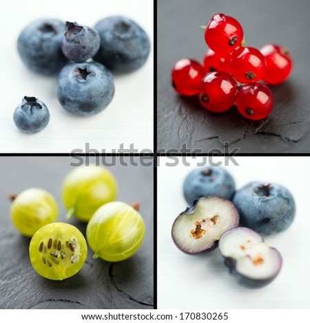 Berries, collage: blueberry, gooseberry and red currant - stock photo