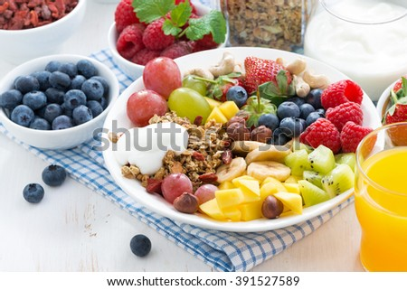 berries, fruits, nuts and granola on the plate for a healthy breakfast, horizontal, close-up - stock photo