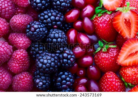 Berries, fruits, summer - stock photo