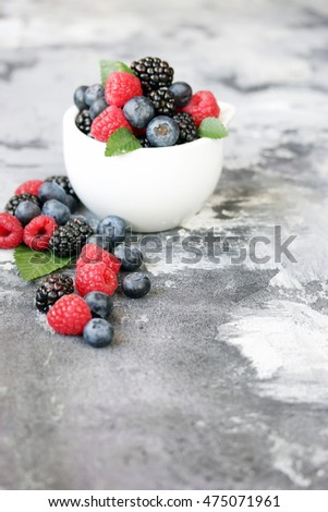 Berries in a white bowl. Copy space