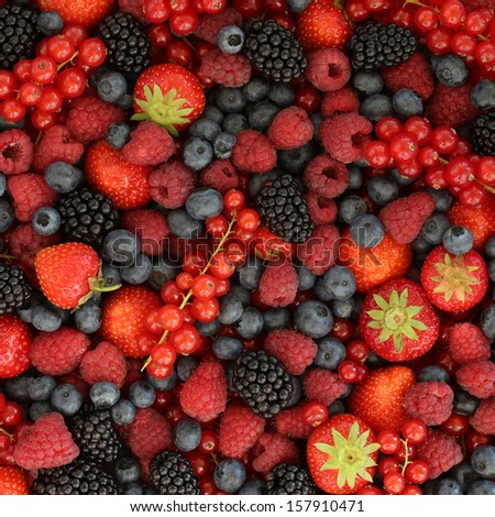 Berries like strawberries, bilberries, red currants, raspberries and blackberries forming a background - stock photo