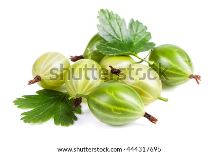 Berries of gooseberry closeup. Ripe juicy sweet berries with green leaf on a white background - stock photo