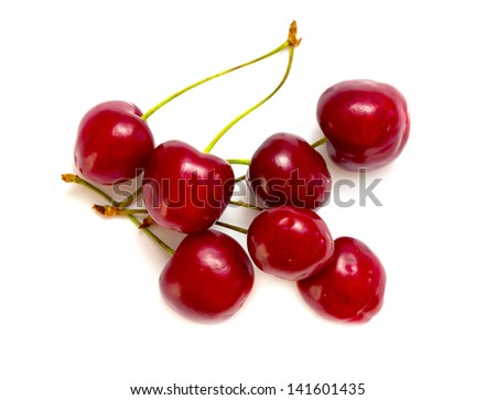 Berries ripe cherry on a white isolated background - stock photo
