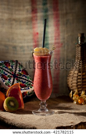 Berries Smoothie with Banana Slice - stock photo