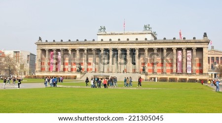BERRLIN, GERMANY - MARCH 30, 2014: Group of tourists visit Altes museum in Berlin, Germany