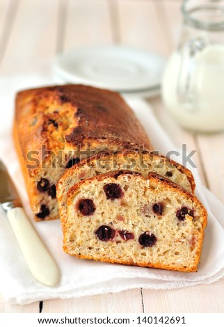 Berry and Oat Loaf Cake, copy space for your text