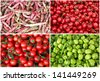 Berry and vegetable collage. Cherries, red cherry tomatoes, green peppers and red bean pods - stock photo