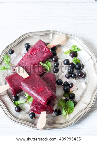 Berry black currant ice-cream sorbet popsicles