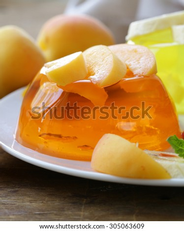 berry fruit jelly with fresh berries - summer dessert - stock photo