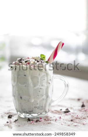 berry fruit natural ingredient milkshake  - stock photo