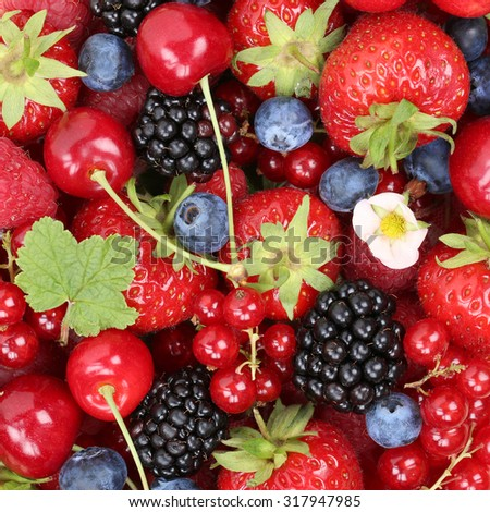 Berry fruits background with strawberries, blueberries, red currants, raspberries and blackberries from above