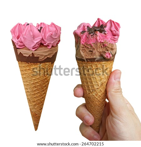 berry ice cream with hand holding, isolate on white background. - stock photo