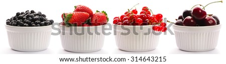 Berry in bowl collection isolated on white - stock photo
