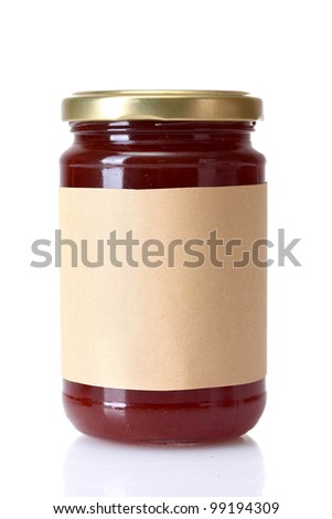 berry jam isolated on white - stock photo
