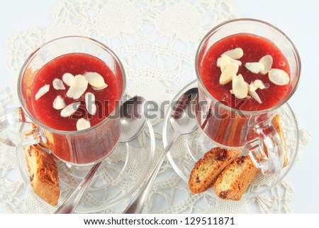 Berry jelly dessert with almonds and biscuits - stock photo