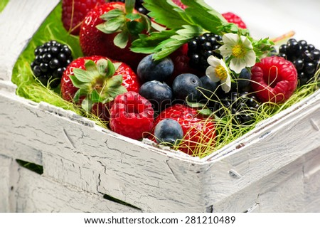 Berry Mix in basket - stock photo