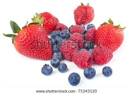 Berry Mix Macro: Strawberry, Blueberries, Raspberries Isolated Against White Background - stock photo