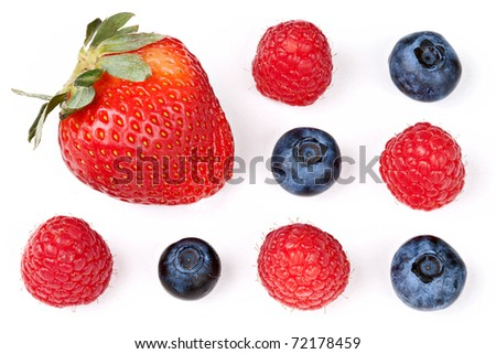 Berry Mix: Strawberry, Raspberries, and Blueberries Isolated against White Background - stock photo