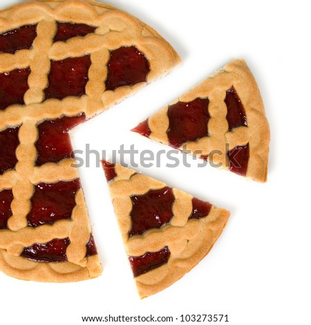 Berry pie with cut off  piece on a white background - stock photo