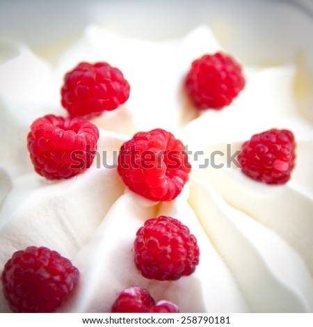 berry raspberry and ice cream - stock photo
