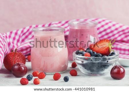Yogurt berries glass on table stock photo 557164369 shutterstock - Refreshing dishes yogurt try summer ...