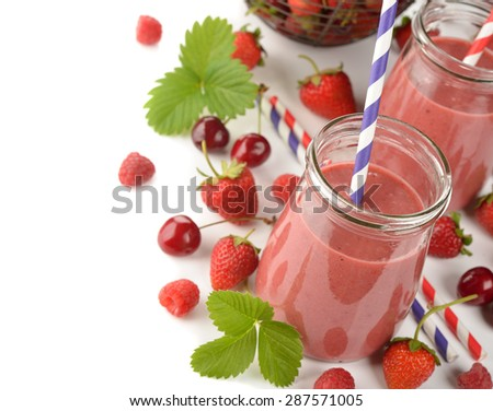 Berry smoothie on white background - stock photo