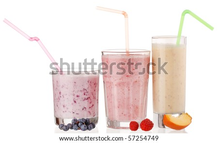 berry smoothies isolated on white background