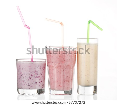 berry smoothies isolated on white background - stock photo