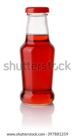 Berry syrup bottle isolated on white - stock photo