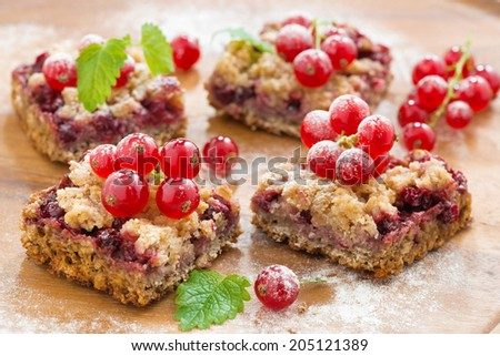 berry tart with fresh red currants, selective focus, close-up - stock photo