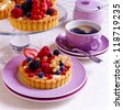 Berry tartlet on a plate - stock photo