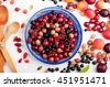 Berry wallpaper. Juicy ripe berries, such as red and black currants, gooseberries and cherries on a blue pottery plate. Next are fruits like plums, apricots. White background - stock photo