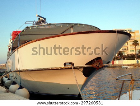 Berthed ship - stock photo
