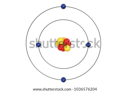 Beryllium Atom Bohr Model With Proton, Neutron And Electron. 3d Illustration