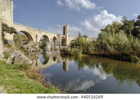 Besalu Spain, a Catalan village, seems to have stopped the clock in the middle ages. - stock photo