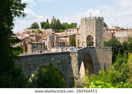 BESALU, SPAIN - MAY 31, 2015: View of medieval bridge in Besalu. Catalonia