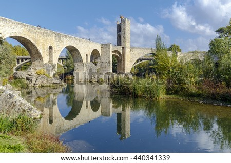 Besalu, Spain - November 1, 2015: Besallu Spain, a Catalan village, seems to have stopped the clock in the middle ages. - stock photo
