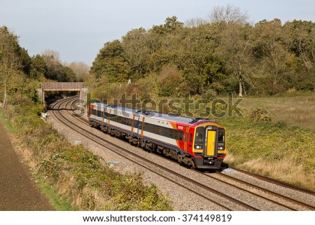 BESFORD, UK - OCTOBER 28: A 159 unit on loan from S West trains takes passengers toward Gloucester on a stopper service on October 28, 2014 in Besford. Twenty two 159 units were built in the 1980's