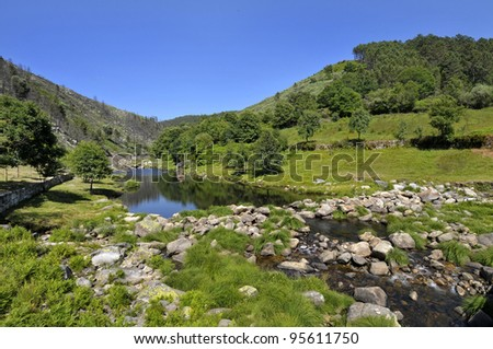 Bessa river in northern Portugal - stock photo