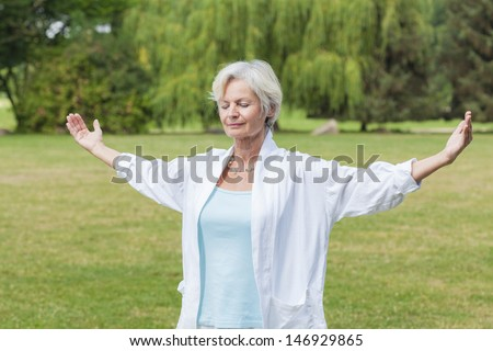 best ager women practicing yoga and tai chi outdoors - stock photo