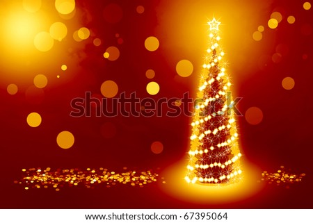 Best background with christmas tree and golden coins around it - stock photo