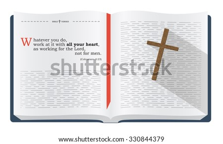 Best Bible verses to remember - Colossians 3:23. Holy scripture inspirational sayings for Bible studies and Christian websites, illustration isolated over white background - stock photo
