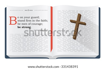 Best Bible verses to remember - 1 Corinthians 16:13. Holy scripture inspirational sayings for Bible studies and Christian websites, illustration isolated over white background - stock photo