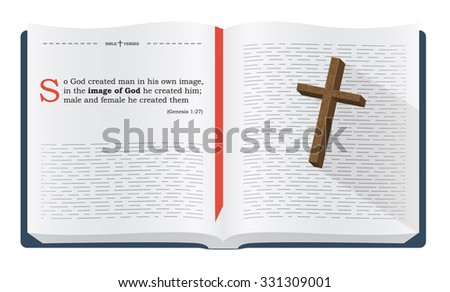 Best Bible verses to remember - Genesis 1:27. Holy scripture inspirational sayings for Bible studies and Christian websites, illustration isolated over white background - stock photo