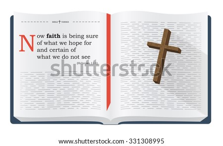 Best Bible verses to remember - Hebrews 11:1. Holy scripture inspirational sayings for Bible studies and Christian websites, illustration isolated over white background - stock photo